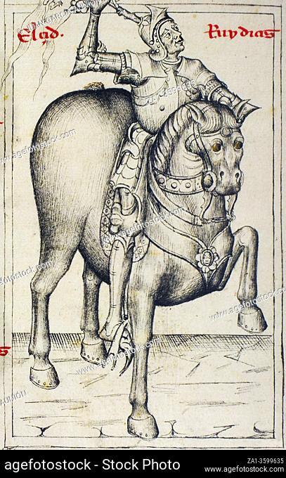 Rodrigo Diaz de Vivar, El Cid at Genealogy of the Kings of Spain by Alonso de Cartagena, 1456. Royal Library of Palace, Madrid. Folio 175r