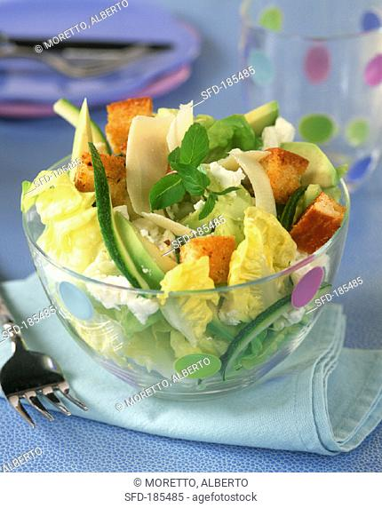 Green salad with two cheeses, avocado and croutons