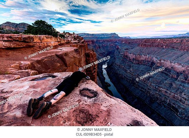 Photographer photographing view from Torroweap overlook, Littlefield, Arizona, USA