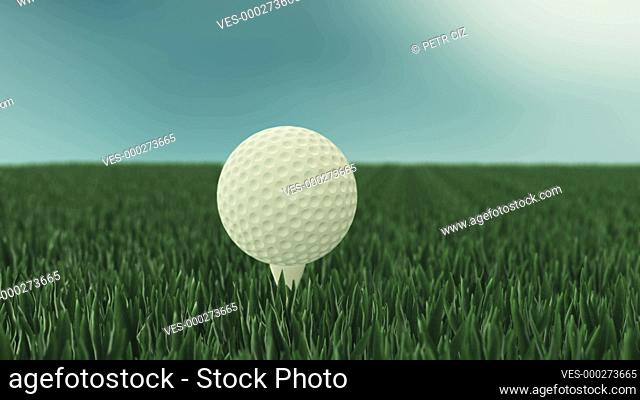 Close-up of a rotating golf ball on golf course. 4K UHD animated 3D video