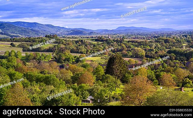 View of the Black Forest from Sinzheim near Baden Baden to Neuweier, Varnhalt, Buehler valley, Baden Wuerttemberg, Germany, Europe
