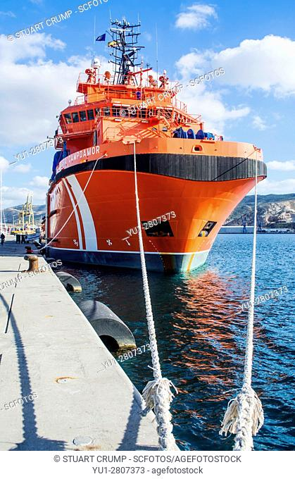 Clara Campoamor resuce vessel moared in the marina of Cartagena in Murcia Spain