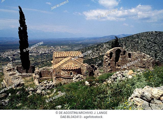 Byzantine church of Agia Paraskevi, 15th century, the ruins of Geraki castle, 13th century, Mount Parnon, Laconia, Greece