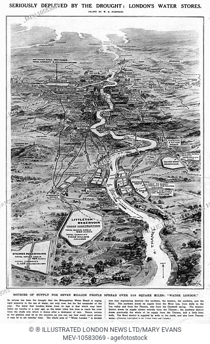 Seriously depleted by drought: London's water stores in 1921 for seven million people, spread over 558 square miles.The Thames estuary is viewed looking east