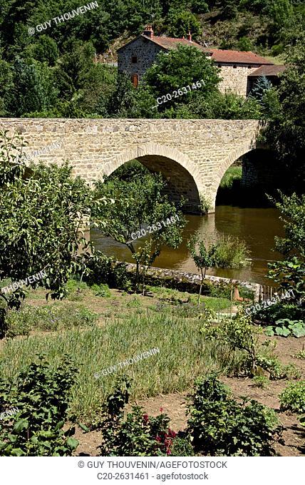 Gardens along the Senouire river, at Lavaudieu, medieval village, 43, Auvergne, Haute Loire, France