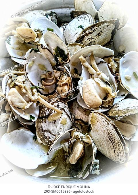 Peruvian food.Steamed clams .Traditional dish