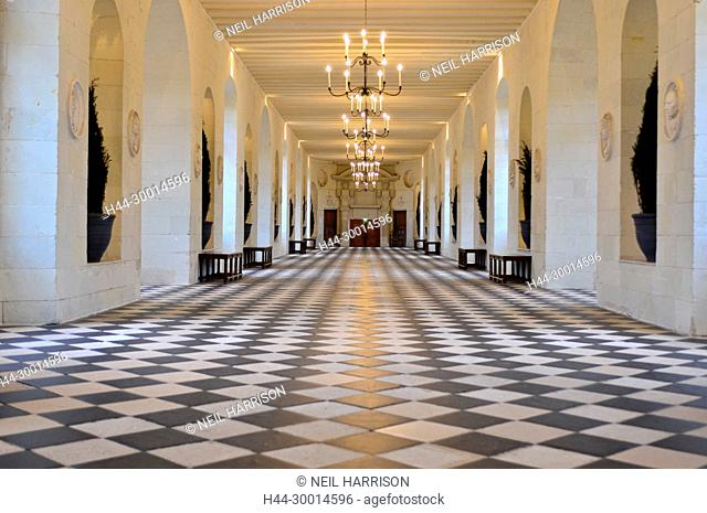 The grand gallery of the Chateau de Chenonceau which bridges the river Cher, France