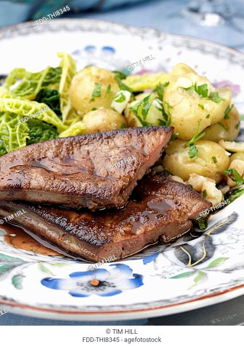 Calves liver with cabbage and potatoes