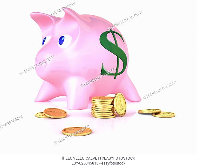 Piggy bank with some gold coins around. On white semi reflective surface and white background