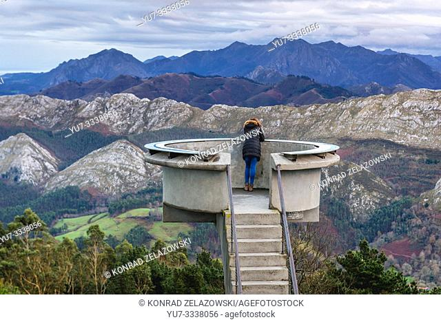 Mirador del Fito viewing point in Sierra del Suevemountain range, northern foothill of the Cantabrian Mountains in Asturias region of Spain