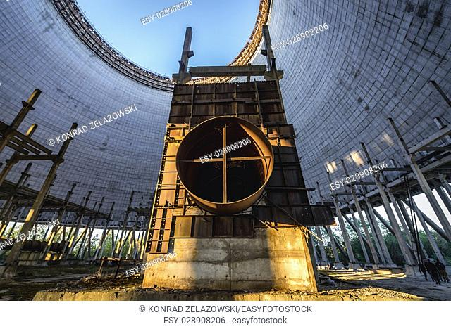 Cooling tower of Chernobyl Nuclear Power Plant in Zone of Alienation around the nuclear reactor disaster in Ukraine