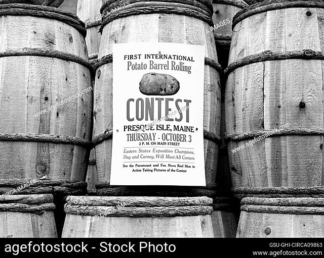 Poster for Potato Growers Association advertising Barrel Rolling Contest, Presque Isle, Maine, Jack Delano, U.S. Farm Security Administration, October 1940