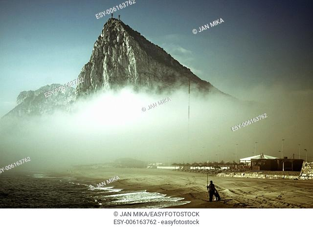 The Rock of Gibraltar Abstract creative photo of Gibraltar Rock in foggy morning