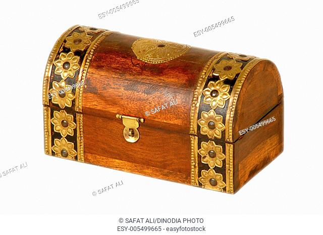 Brass design fitting on antique wooden box ; Jodhpur ; Rajasthan ; India