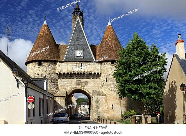 France, Indre, Berry, Champagne Berrichonne, Deols, Porte St Etienne or Porte de l'Horloge of the 14th and 15th centuries