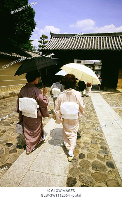 Rear view of two mid adult women walking on a walkway, Daitokuji Temple, Kyoto, Japan