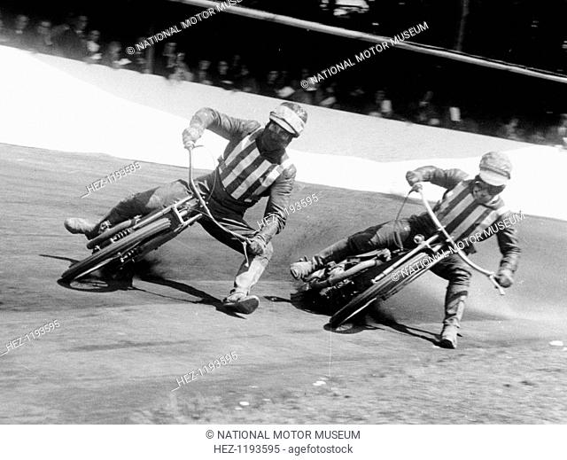 Dick Bradley (on the left) and Alby Golden at a speedway track, Exeter, c1952-c1953