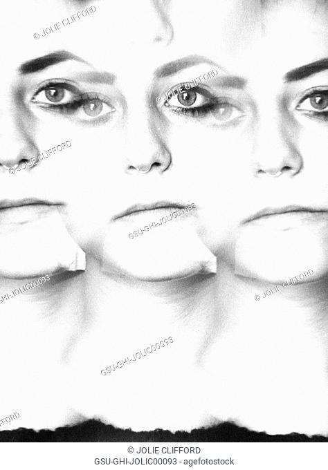 Abstract Tripled Face of Young Woman