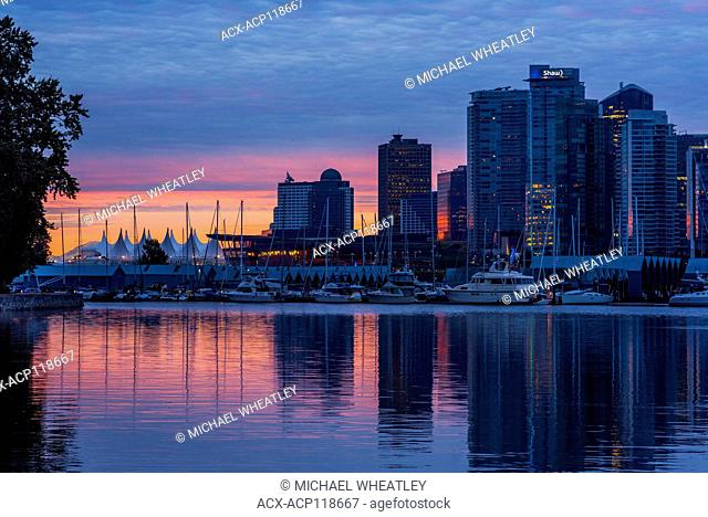Downtown skyline at dawn, Coal Harbour, Vancouver, British Columbia, Canada
