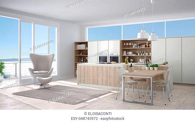 Modern white kitchen with wooden details, big window with sea or lake panorama