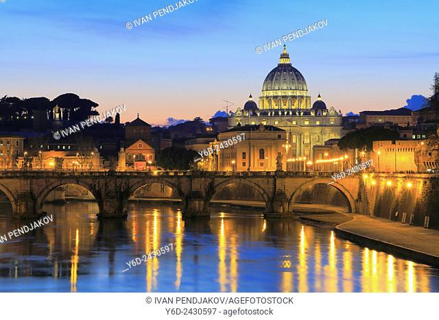 St Peter's Basilica and the Tiber, Rome, Italy