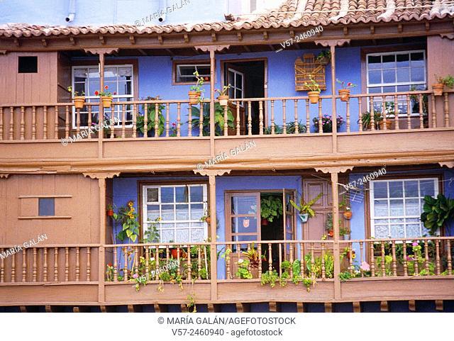 Typical balconies. Santa Cruz de La Palma, La Palma island, Canary Islands, Spain