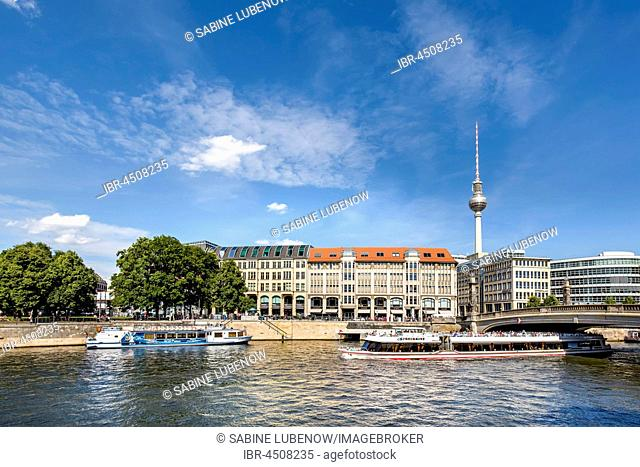 View from the Museum Island onto the Spree, Berlin-Mitte, Berlin, Germany