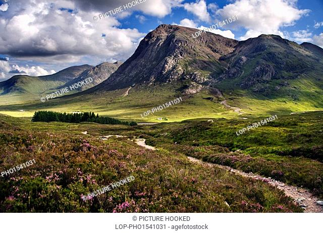 Scotland, Highland, Glen Coe. A view down the Devil's Staircase towards the Pass of Glen Coe in the Scottish Highlands