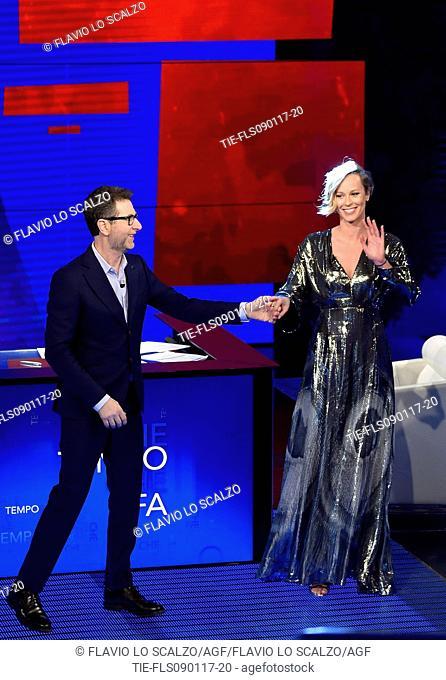 The presenter Fabio Fazio with the champion swimmer Federica Pellegrini during the tv show Che tempo che fa, Milan, ITALY-08-01-2017