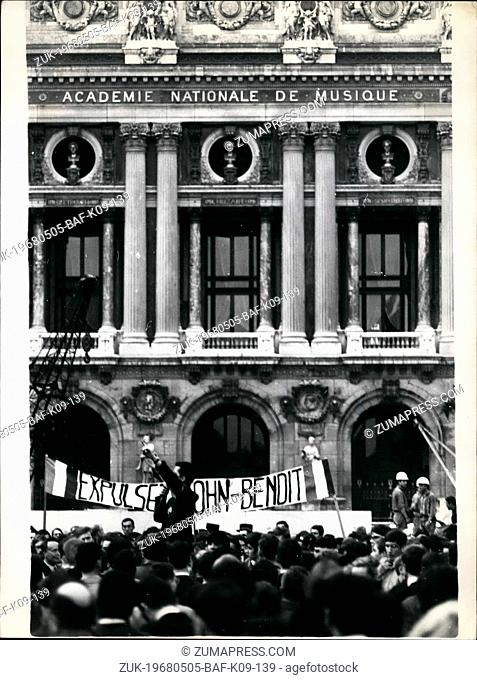 May 05, 1968 - 'Expell Cohn Bendit' claim right wing students; Right wing students held a counter demonstration in Paris East Wing