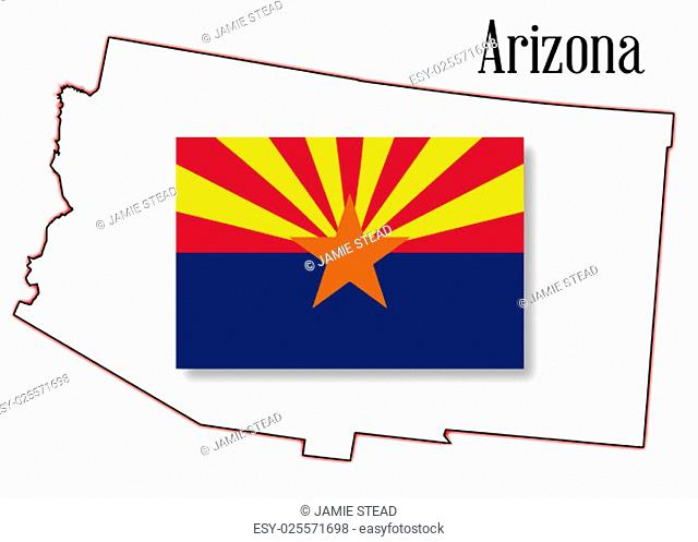 Outline map of the state of Arizona on a white background with flag inset