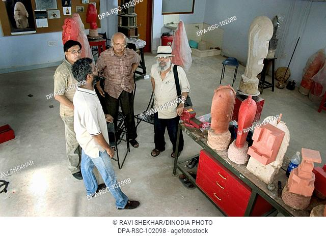 Himmat Shah , Legendry Artist painter , sculptor , creative person , works in bronze and clay in his studio , Jaipur , Rajasthan , India Editorial use only