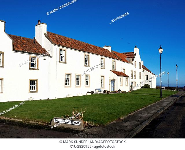 Dutch Influenced White Houses on Pan Ha in Dysart Fife Scotland