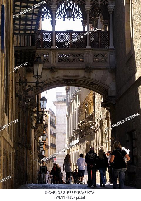 Carrer del Bisbe, Gothic quarter, Barcelona Catalonia, Spain