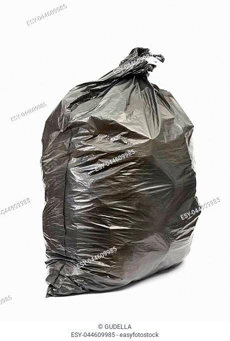 Black garbage bag on white background