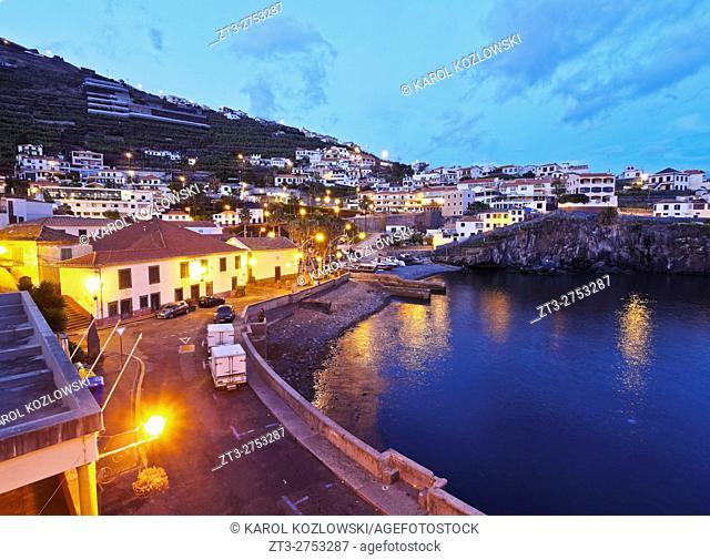 Portugal, Madeira, Twilight view of the Camara de Lobos