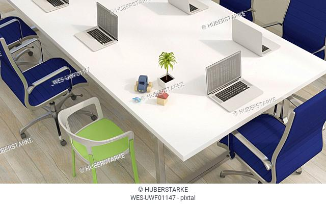 Conference table with laptops and familx and vacation items, 3d rendering