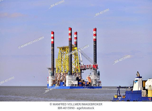 Jacket components for offshore wind turbines on specialised vessel Victoria Matthias, Container Terminal Bremerhaven, Bremerhaven, Bremen, Germany
