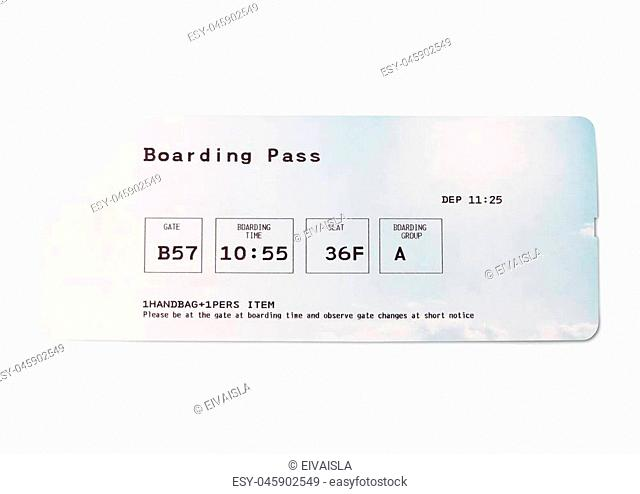 Flight ticket or boarding pass, isolated on white