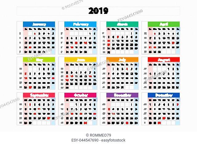 vector calendar 2019, Week starts from Sunday, business template art