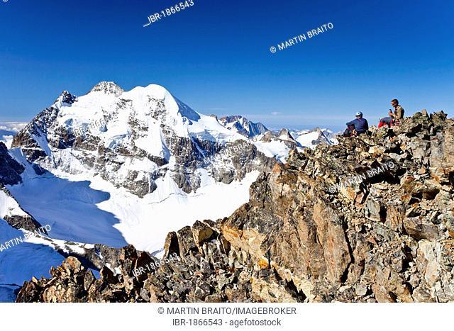 View from Piz Morteratsch Mountain towards Piz Roseg Mountain, Bernina Range, Grisons, Switzerland, Europe