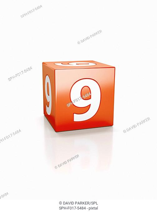 Red cube with the number nine