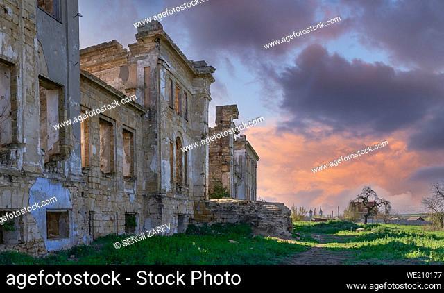 Mansión Dubiecki abandonada o mansión Pankejeff del Hombre Lobo en la aldea de Vasylievka, región de Odessa, Ucrania