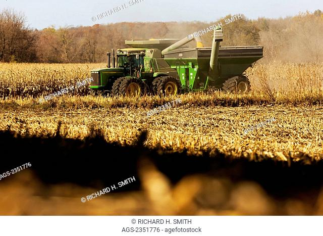 Agriculture - A John Deere combine harvests grain corn in Autumn while augering the harvested corn into a grain wagon