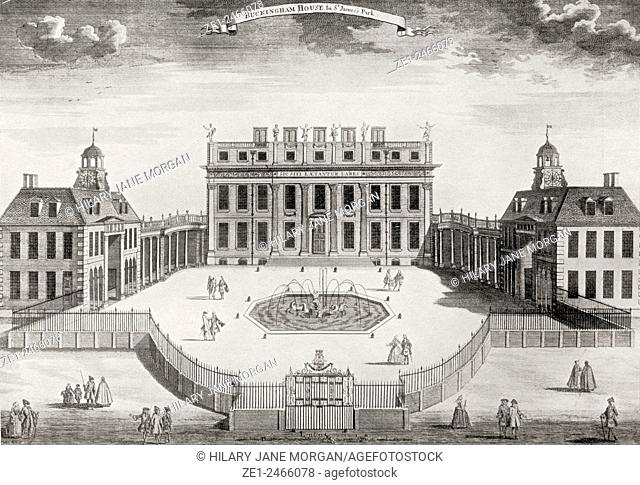 Front of Buckingham House, London, England, after an engraving of 1714. From Buckingham Palace, Its Furniture, Decoration and History, published 1931