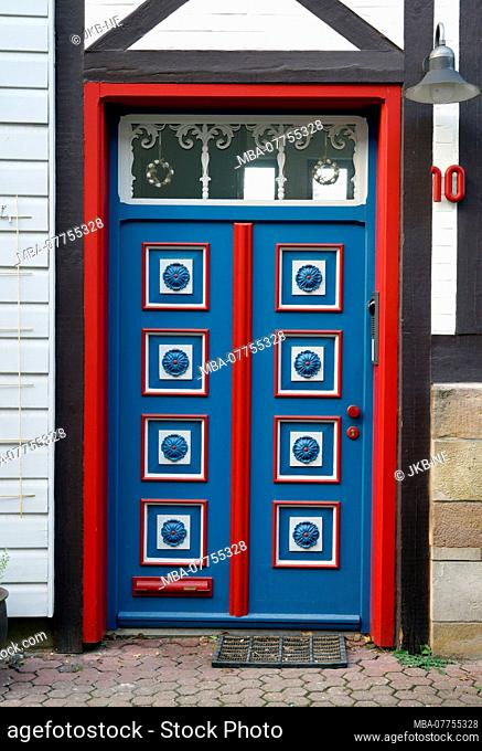 Germany, Lower Saxony, Wolfenbüttel, Old Town, half-timbered house, painted historical front door, cartridge door