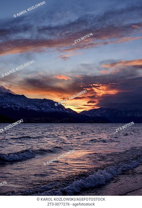 General Carrera Lake at dawn, Puerto Rio Tranquilo, Aysen Region, Patagonia, Chile