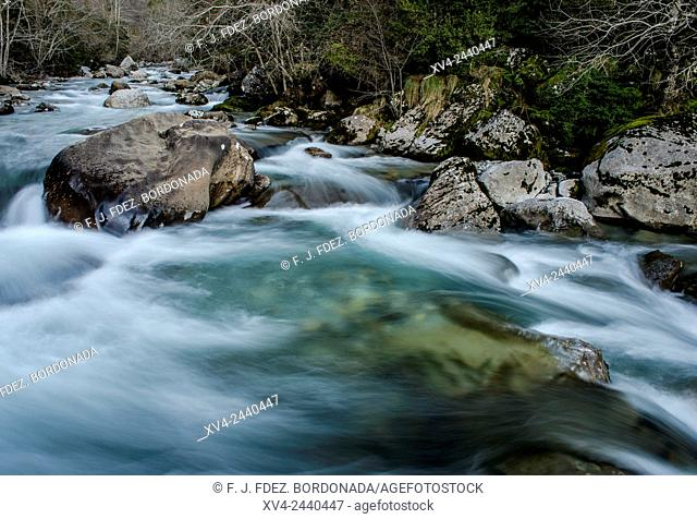 Veral riverside, Anso Valley, Huesca Pyrenees, Aragon, Spain