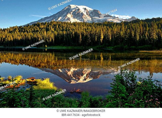 Reflection of Mount Rainier in Reflection Lake, Mount Rainier National Park, Cascade Range, Washington, Pacific Northwest, USA