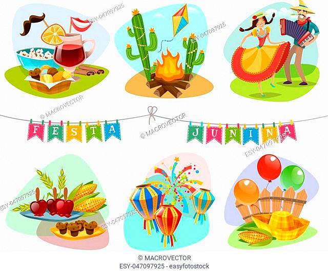 Festa junina isolated mini compositions with holiday decorations and traditional carnival accessories cartoon vector illustration